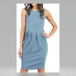 LACLEF BLUE SLEEVELESS BOX PLEAT MATERNITY DRESS M